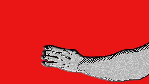 Rotoscoped hand strangling someone Animation