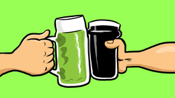 Cheers animation of Irish drinks. St Patrick's Day 動畫
