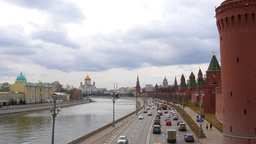 View Of The Moscow River From The Bridge. Cathedral Of Christ. Moscow. Time-Laps stock footage