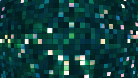 Broadcast Twinkling Hi-Tech Squares Globe, Green, Corporate, Loopable, HD Animation