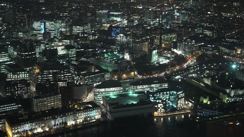 London City Lights East End by night - LONDON, ENGLAND Footage