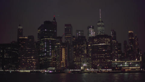4K View on night Manhattan Footage