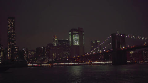 Night views of Manhattan and the bridge Footage