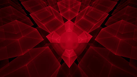 Red Cubes Rotating, Perspective Animation