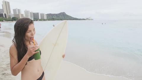 Healthy lifestyle food and fitness woman on beach Live Action