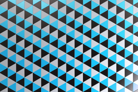 Pattern of black, white and blue triangle prisms Foto