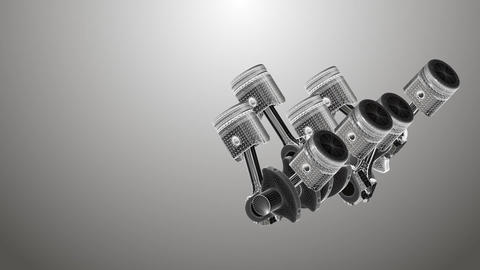 Animated pistons coated with 3D mesh on a gray background Footage