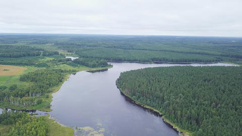 Continuation of the panorama of the pond and forest. Flying camera, From Dron Footage