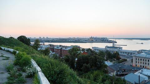 Sunset overlooking the confluence of the rivers Volga and Oka. Nizhny Novgorod, Footage