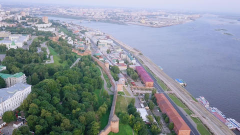 View of the Nizhny Novgorod Kremlin and the embankment of the Volga River. Footage
