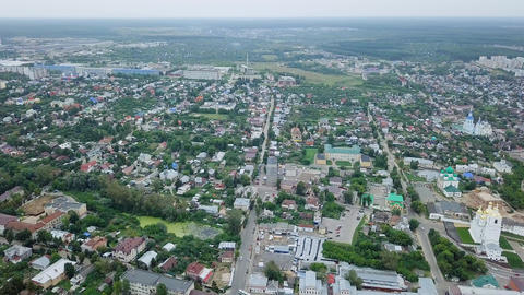 Panorama of the city of Arzamas from a bird's eye view, Russia, From Dron Footage