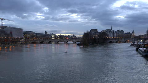 View of the Seine river, Cite island and Pont Neuf from Pont des Arts before the Footage
