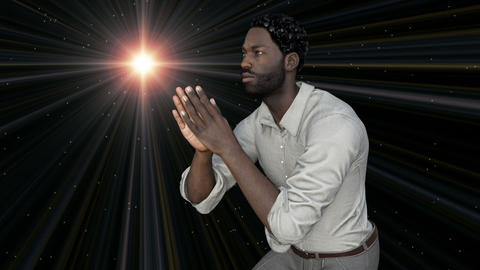 African man in a pose of a praying man Animation