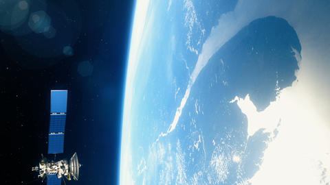 Beautiful realistic satellite in low Earth orbit CG動画素材