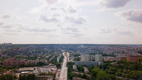 Panorama of the city of Penza from the air in the summer. Karpinsky Street. Footage
