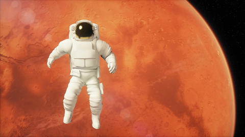 Astronaut in outer space is flying over the planet Mars Animation