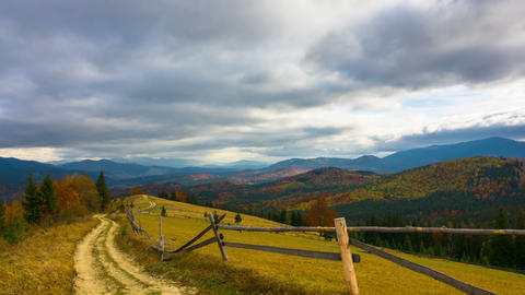 Autumn. Mountain Landscape with a Dirt Road Filmmaterial