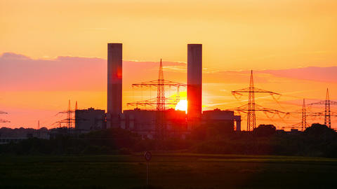 Power Station Sunset Timelapse zooming in Footage