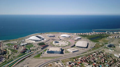 General view of Sochi Park in the Adler from a bird's-eye view. Sochi, Russia, Footage