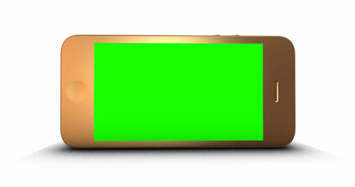 Golden smartphone with a green screen on a white background Animation