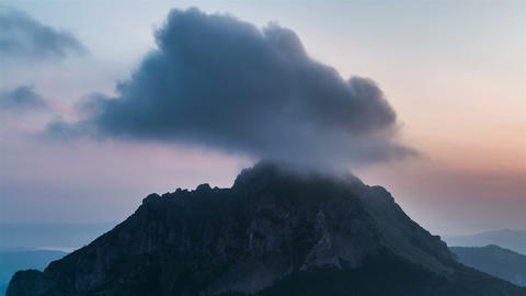 Clouds in Mountains Time Lapse. Morning Colors before Sunrise Footage