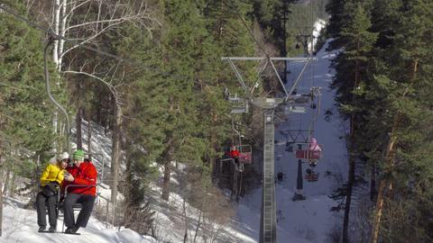 Winter mountains panorama, ski lifts Footage