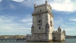 Belem Tower (Tower of Saint Vincent) in Lisbon Footage