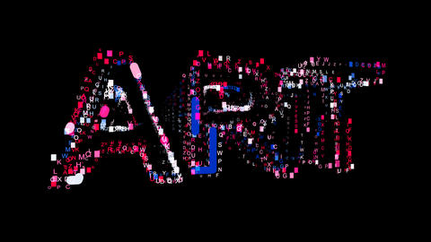 Letters are collected in text ART, then scattered into strips. Bright colors Animation