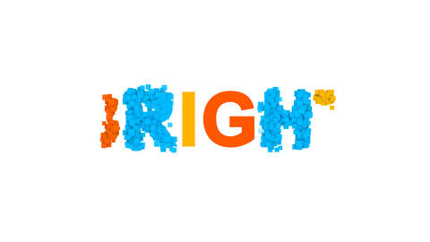 text BRIGHT from letters of different colors appears behind small squares. Then Animation
