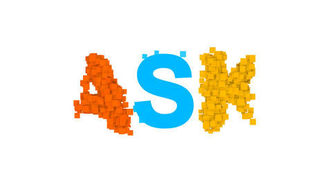 text ASK from letters of different colors appears behind small squares. Then Animation