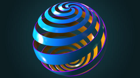 Rotating blue and orange abstract spiral globe, seamless loop Footage