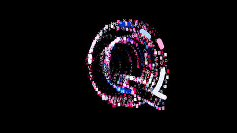 Letters are collected in latin letter Q, then scattered into strips. Bright Animation