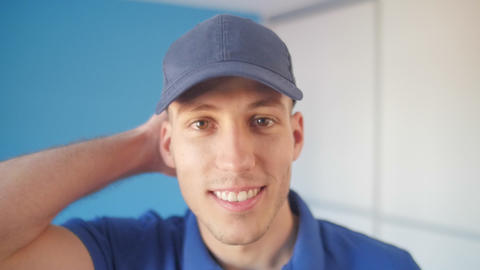 Close Up Of A Young Man Wearing A Baseball Hat stock footage