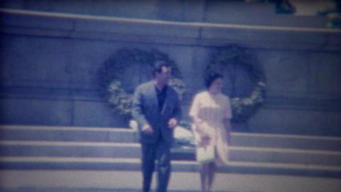1963: Italian couple street lady dress blows up like Marilyn Monroe Footage