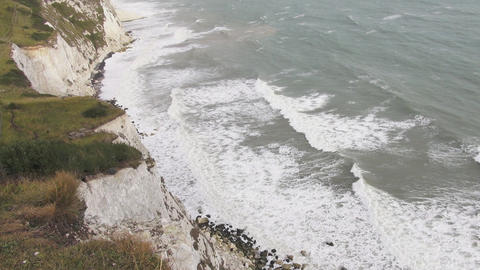 The White Cliffs of Dover and a stormy sea - big waves Footage