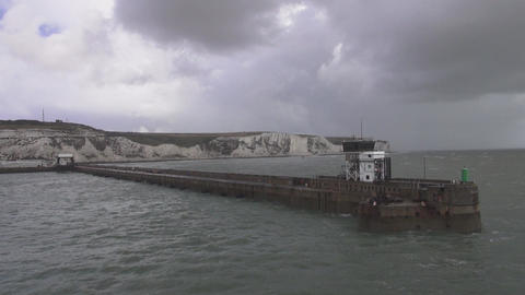 Ferry leaving Dover - white cliffs of Dover in the background Footage