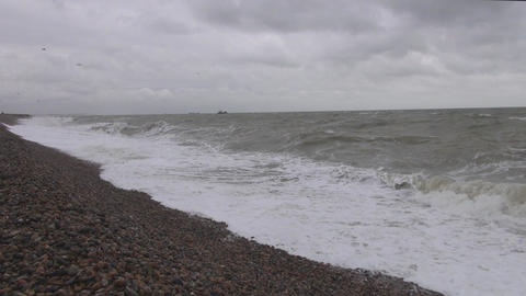 Pebbly beach at Deal UK Footage
