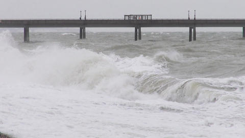 Big waves of the stormy sea at Deal UK Live Action