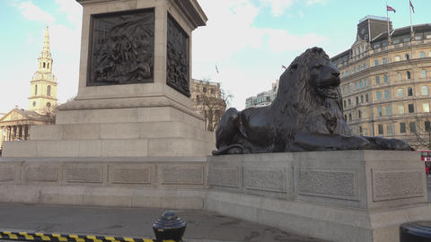 The famous Lions at Trafalgar Square London Footage