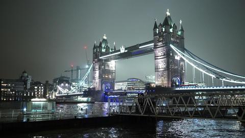 Wonderful night view of London Tower Bridge - LONDON, ENGLAND Live Action