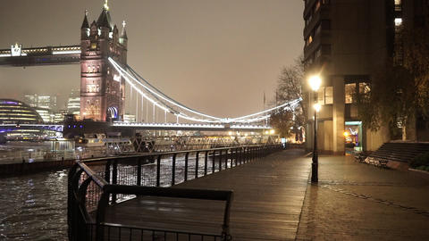 London Tower Bridge view from St Katherine Docks - LONDON, ENGLAND Live Action
