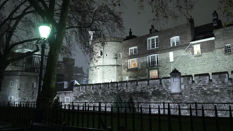 Wonderful illuminated Tower of London by night - LONDON, ENGLAND Live Action