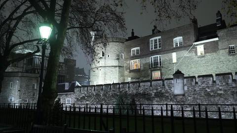 Wonderful illuminated Tower of London by night - LONDON, ENGLAND Live Action
