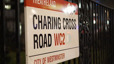 Street sign Charing Cross Road London - LONDON, ENGLAND Live Action