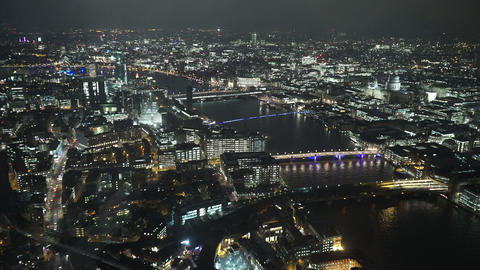 London city lights aerial view by night - LONDON, ENGLAND Live Action