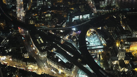 The streets of London by night from above - LONDON, ENGLAND Live Action