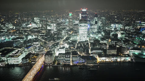 Fantastic aerial view of London by night - LONDON, ENGLAND Live Action