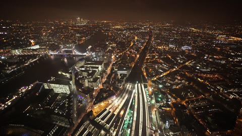 London by night wide angle aerial shot - LONDON, ENGLAND Live Action