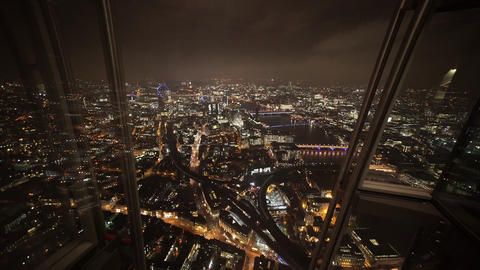 The view from the Shard by night amazing London - LONDON, ENGLAND Live Action