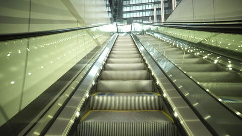 Modern illuminated escalators to The London Shard - LONDON, ENGLAND Live Action